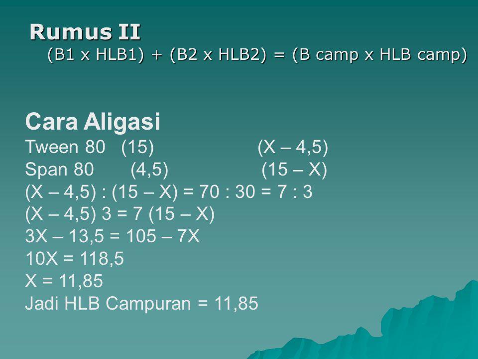 Cara Aligasi Rumus II (B1 x HLB1) + (B2 x HLB2) = (B camp x HLB camp)