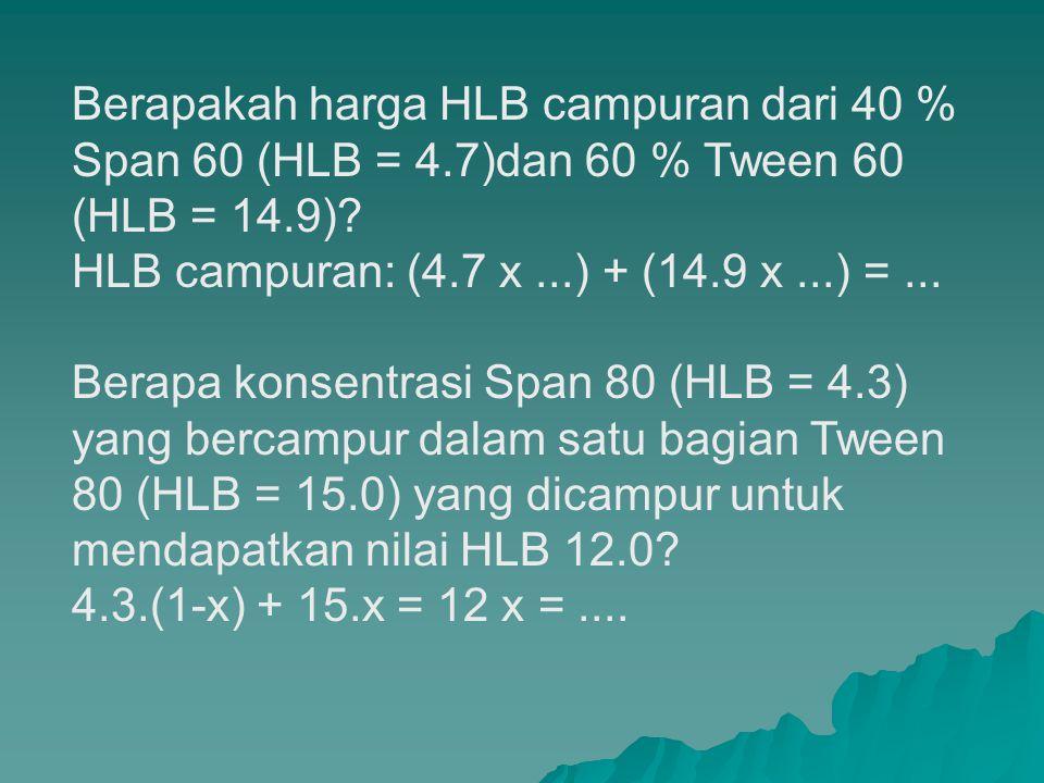 Berapakah harga HLB campuran dari 40 % Span 60 (HLB = 4