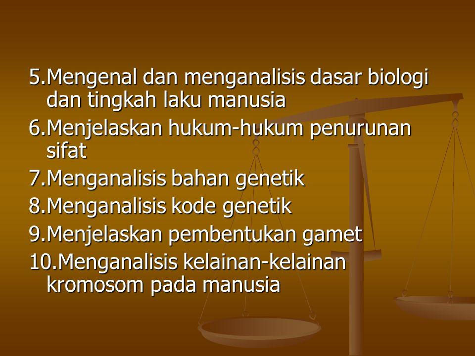 5.Mengenal dan menganalisis dasar biologi dan tingkah laku manusia