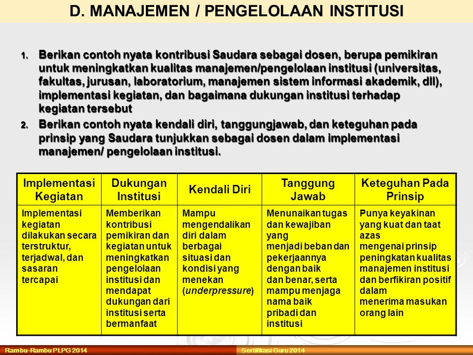 D. MANAJEMEN / PENGELOLAAN INSTITUSI