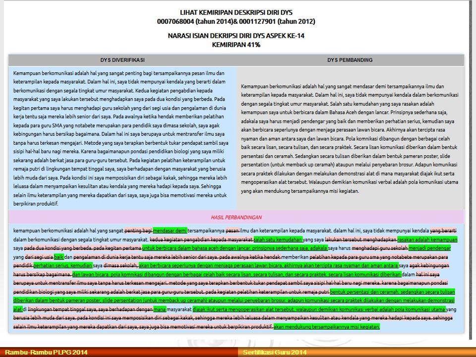 Rambu-Rambu PLPG 2014 Sertifikasi Guru 2014
