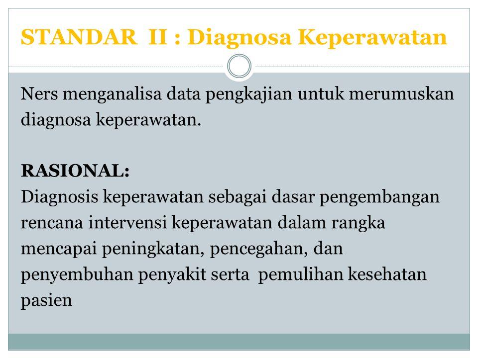 STANDAR II : Diagnosa Keperawatan