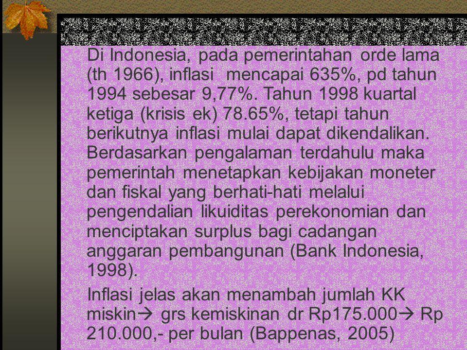 Di Indonesia, pada pemerintahan orde lama (th 1966), inflasi mencapai 635%, pd tahun 1994 sebesar 9,77%. Tahun 1998 kuartal ketiga (krisis ek) 78.65%, tetapi tahun berikutnya inflasi mulai dapat dikendalikan. Berdasarkan pengalaman terdahulu maka pemerintah menetapkan kebijakan moneter dan fiskal yang berhati-hati melalui pengendalian likuiditas perekonomian dan menciptakan surplus bagi cadangan anggaran pembangunan (Bank Indonesia, 1998).