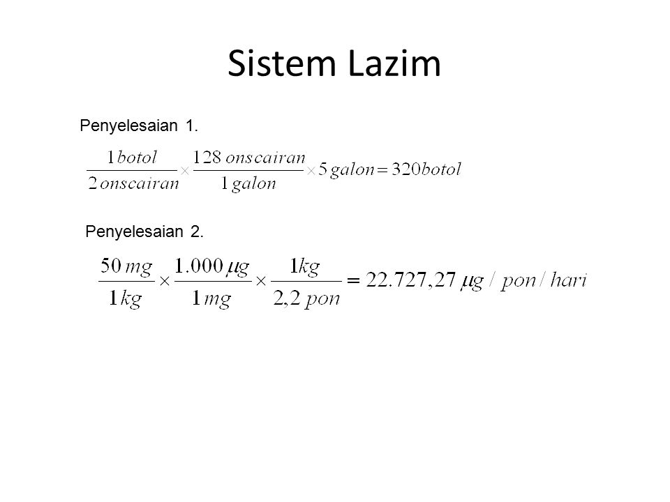 Sistem Lazim Penyelesaian 1. Penyelesaian 2.
