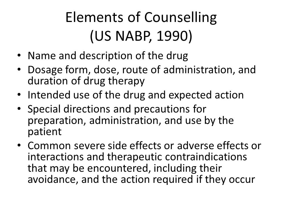 Elements of Counselling (US NABP, 1990)