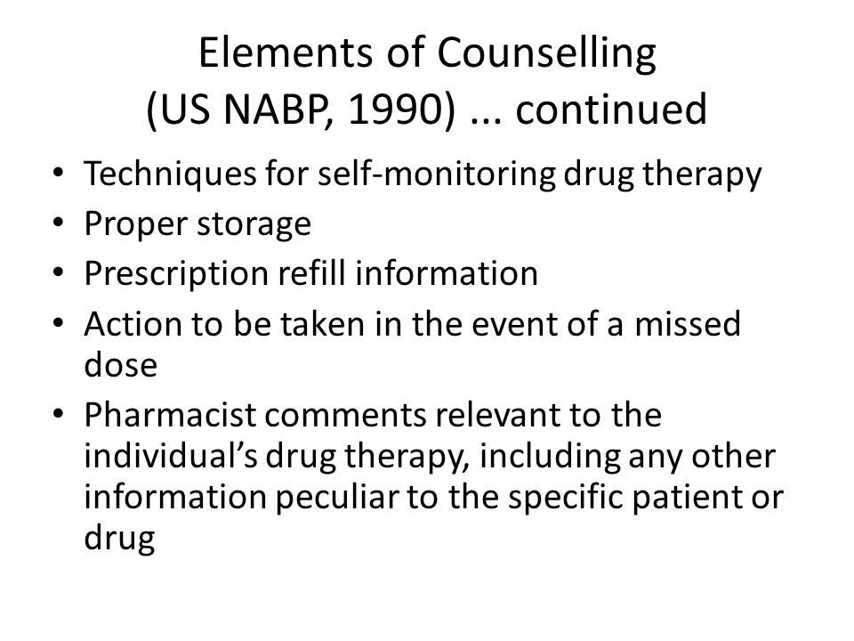 Elements of Counselling (US NABP, 1990) ... continued