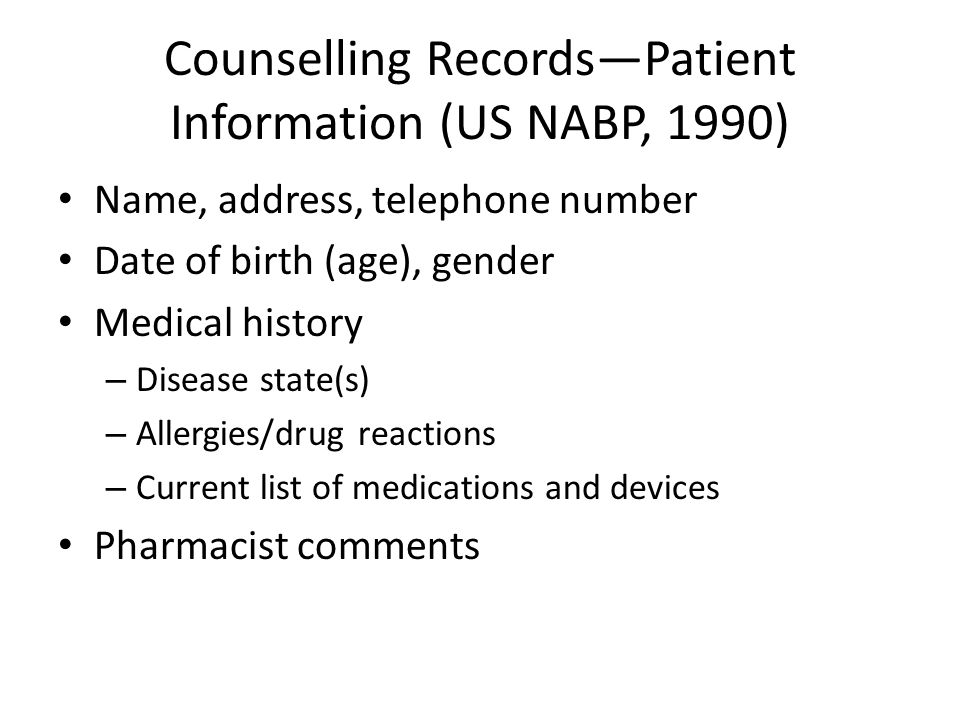 Counselling Records—Patient Information (US NABP, 1990)