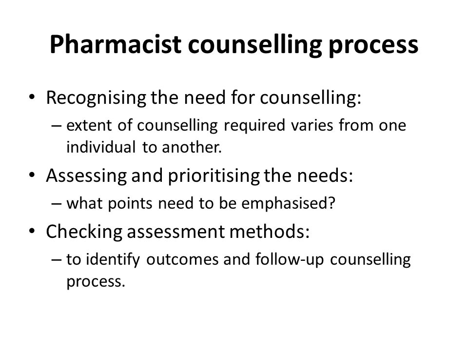 Pharmacist counselling process