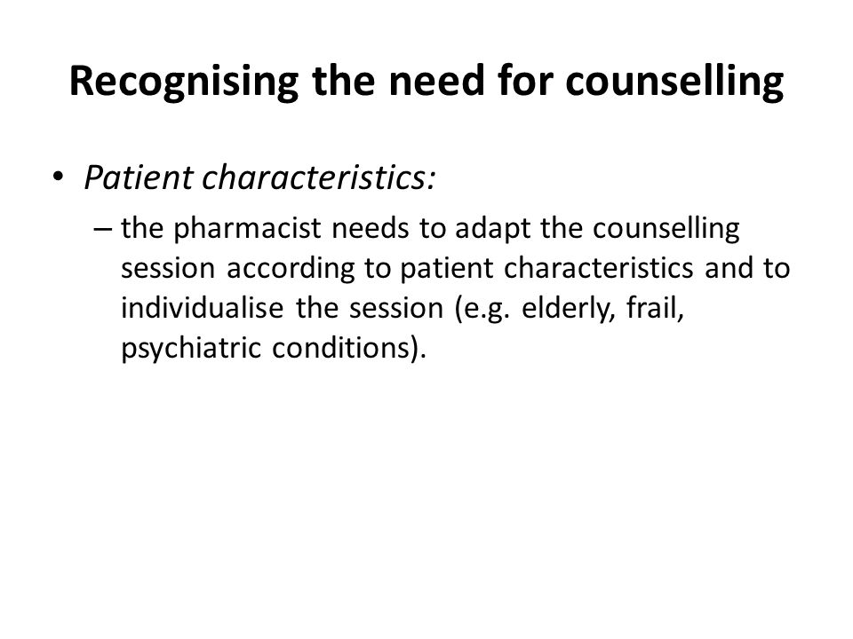 Recognising the need for counselling