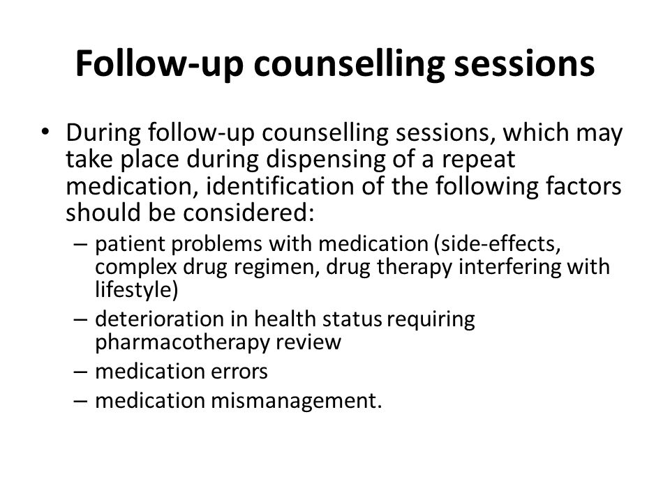 Follow-up counselling sessions
