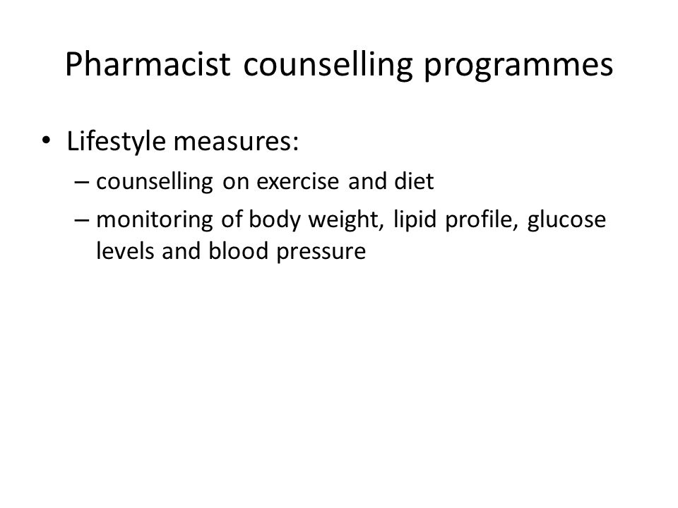 Pharmacist counselling programmes