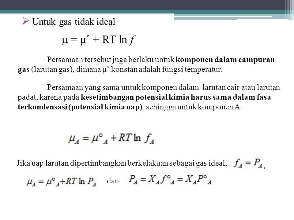 Untuk gas tidak ideal μ = μ˚ + RT ln f