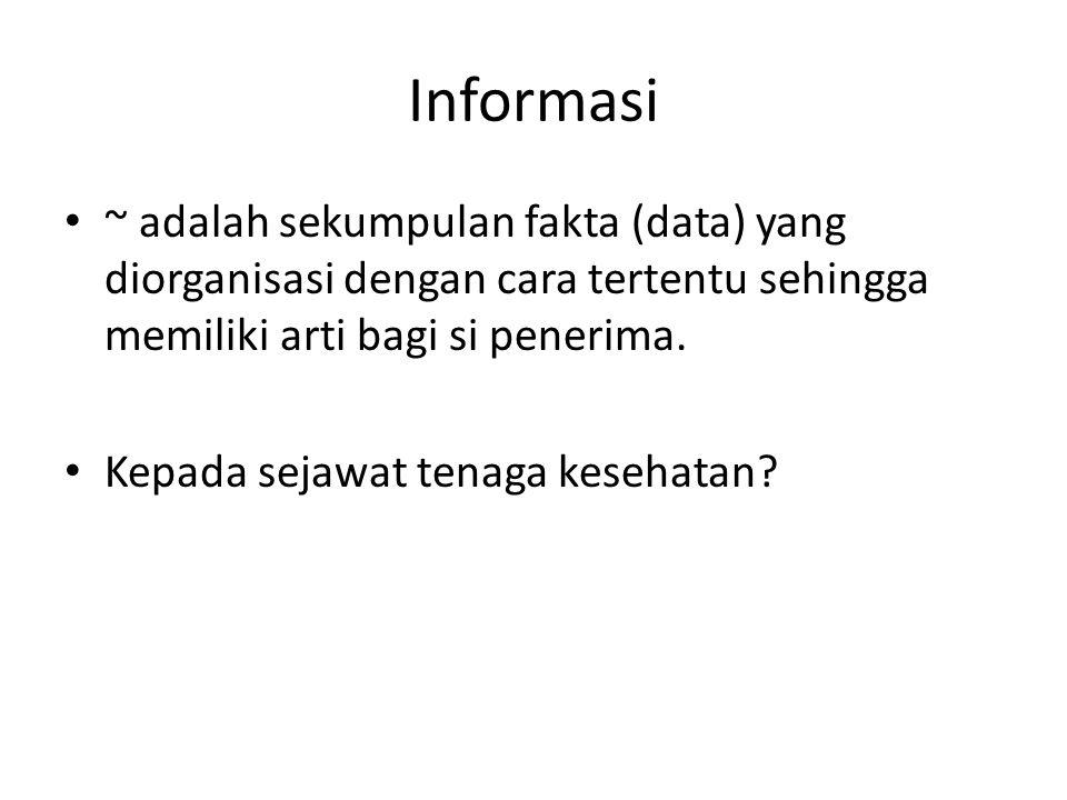 Informasi ~ adalah sekumpulan fakta (data) yang diorganisasi dengan cara tertentu sehingga memiliki arti bagi si penerima.