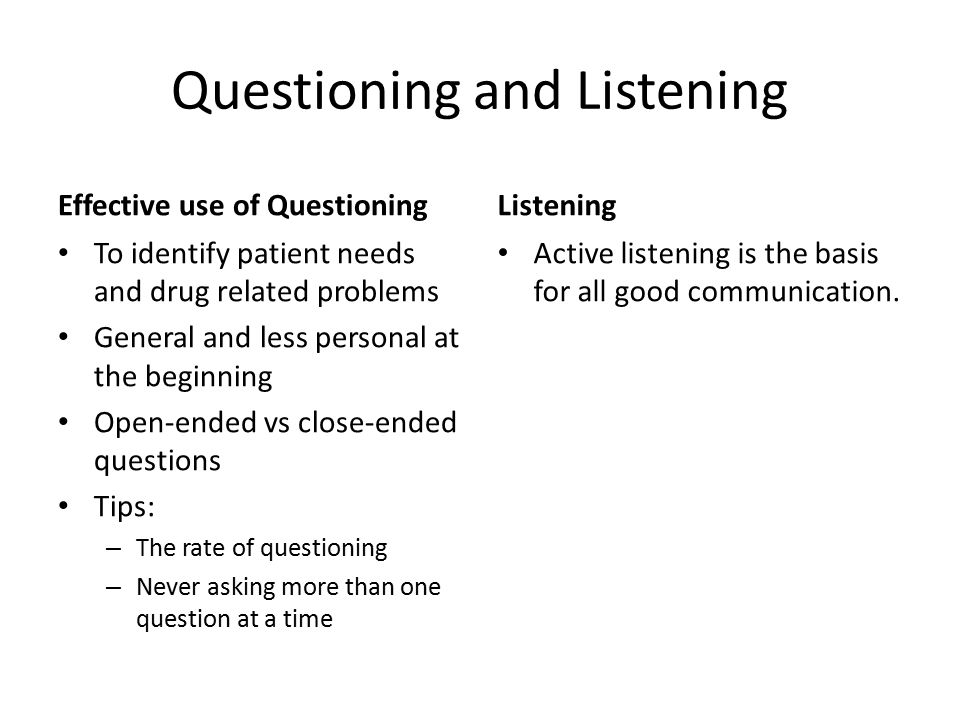 Questioning and Listening