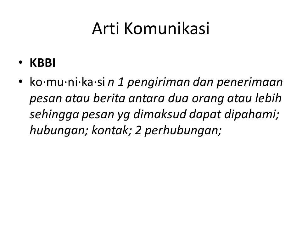 Arti Komunikasi KBBI.