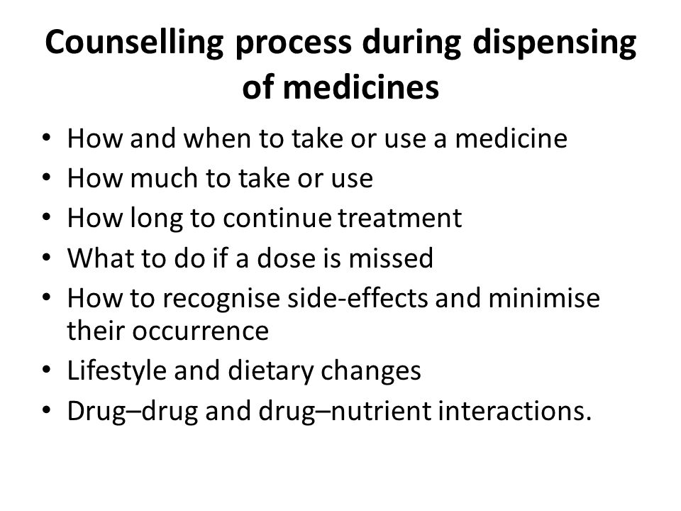 Counselling process during dispensing of medicines