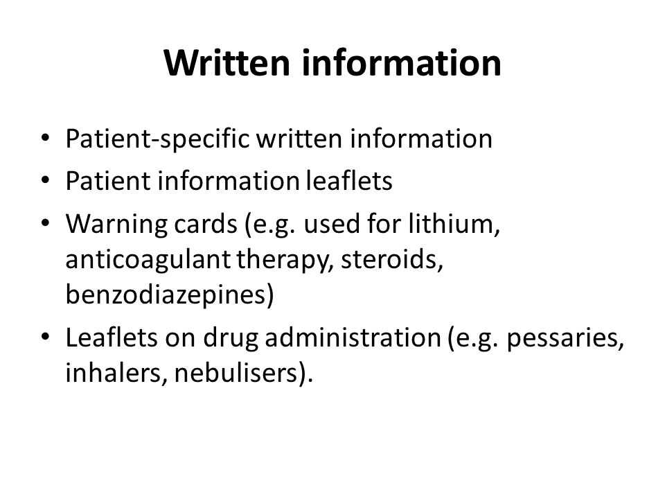Written information Patient-specific written information