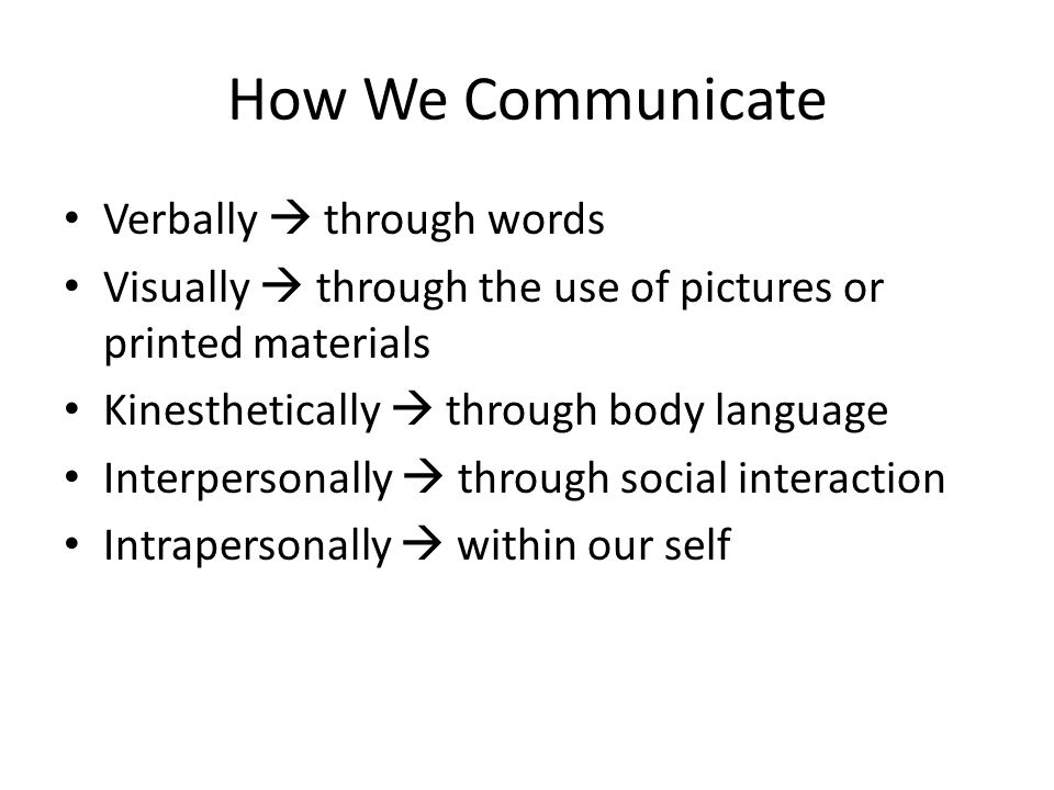 How We Communicate Verbally  through words