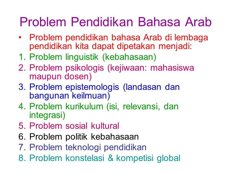 Problem Pendidikan Bahasa Arab