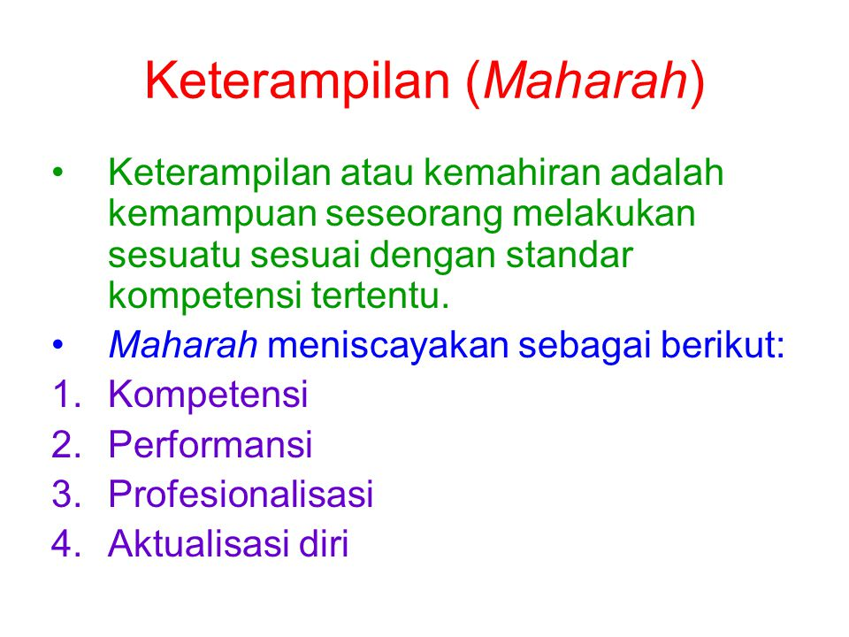 Keterampilan (Maharah)
