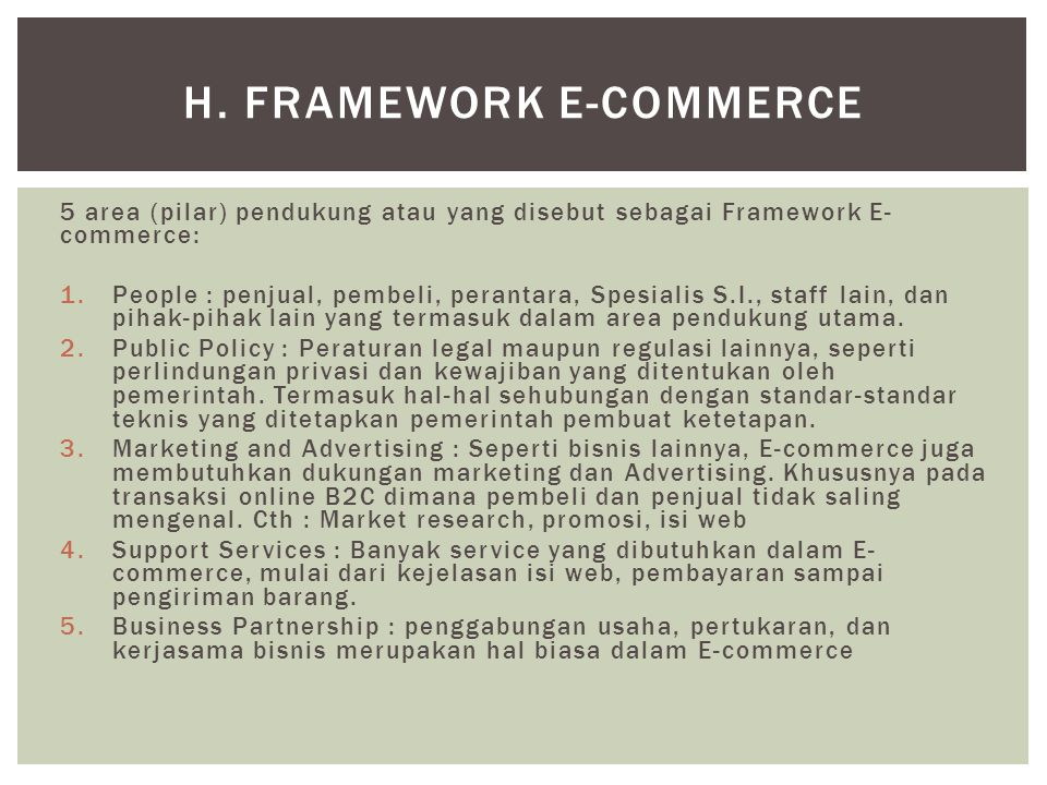 h. Framework E-Commerce