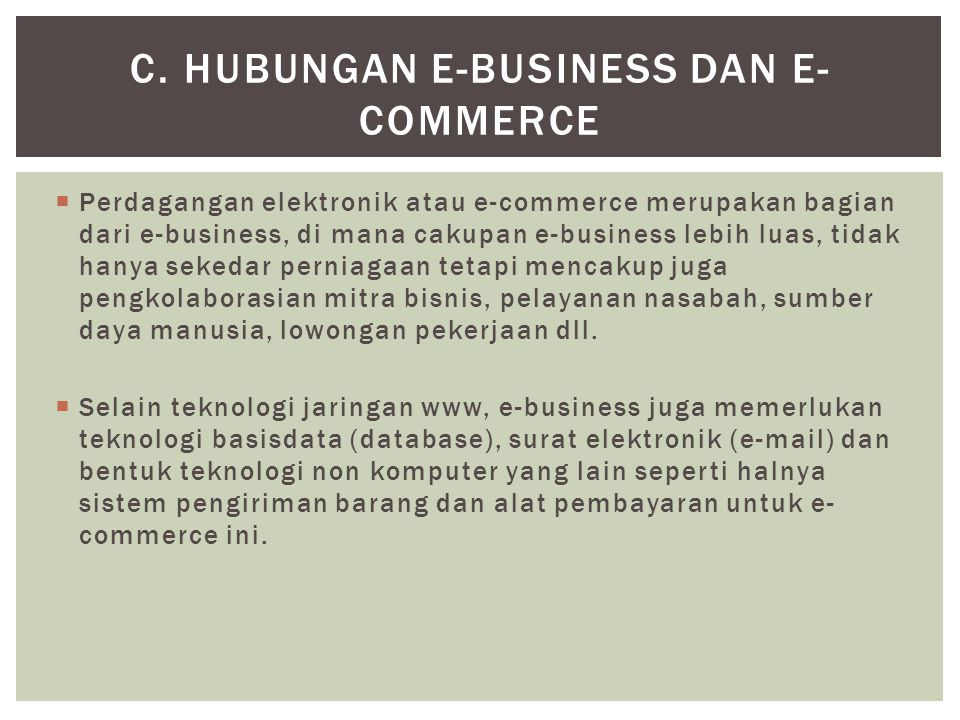 c. Hubungan E-Business dan E-Commerce