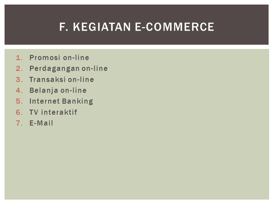 f. Kegiatan E-Commerce Promosi on-line Perdagangan on-line