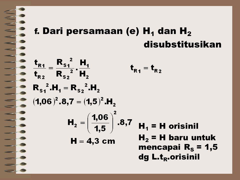disubstitusikan f. Dari persamaan (e) H1 dan H2 H1 = H orisinil