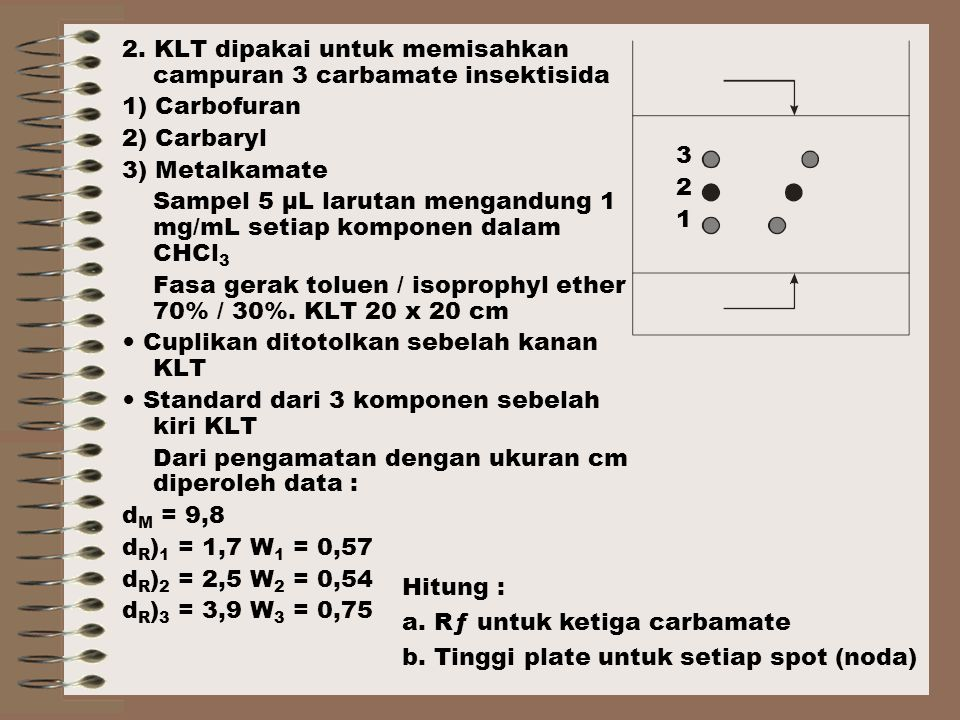 2. KLT dipakai untuk memisahkan campuran 3 carbamate insektisida