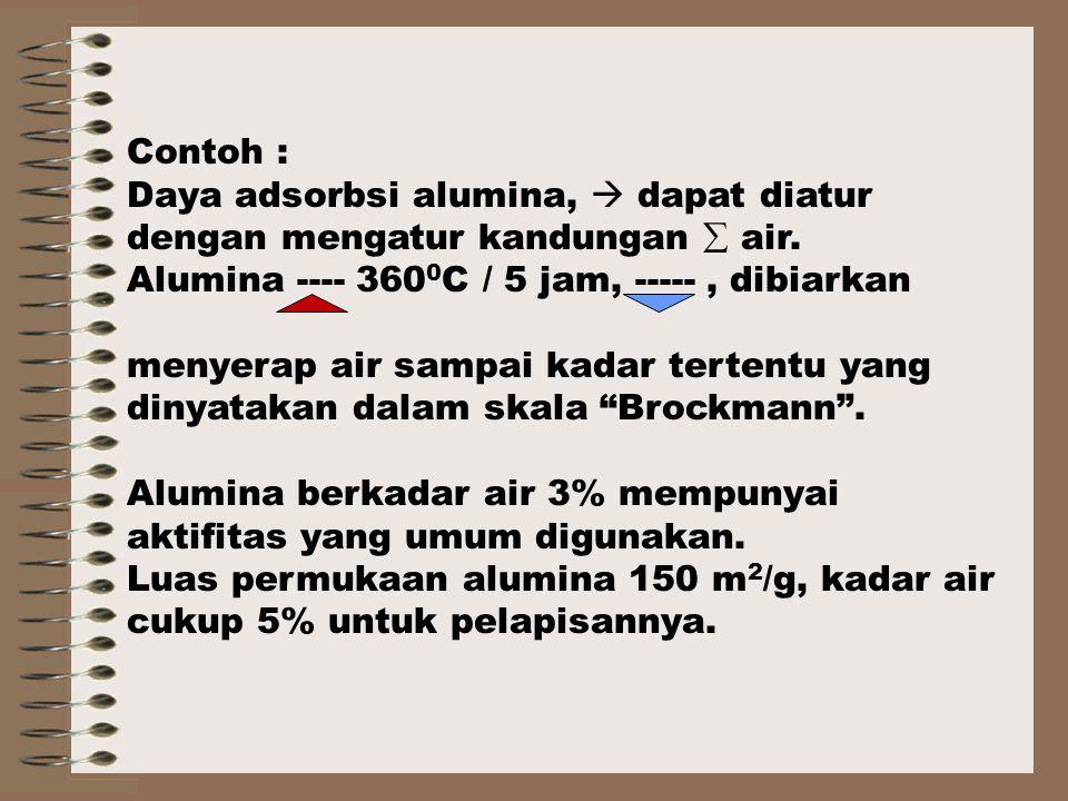 Contoh : Daya adsorbsi alumina,  dapat diatur dengan mengatur kandungan  air. Alumina ---- 3600C / 5 jam, ----- , dibiarkan.