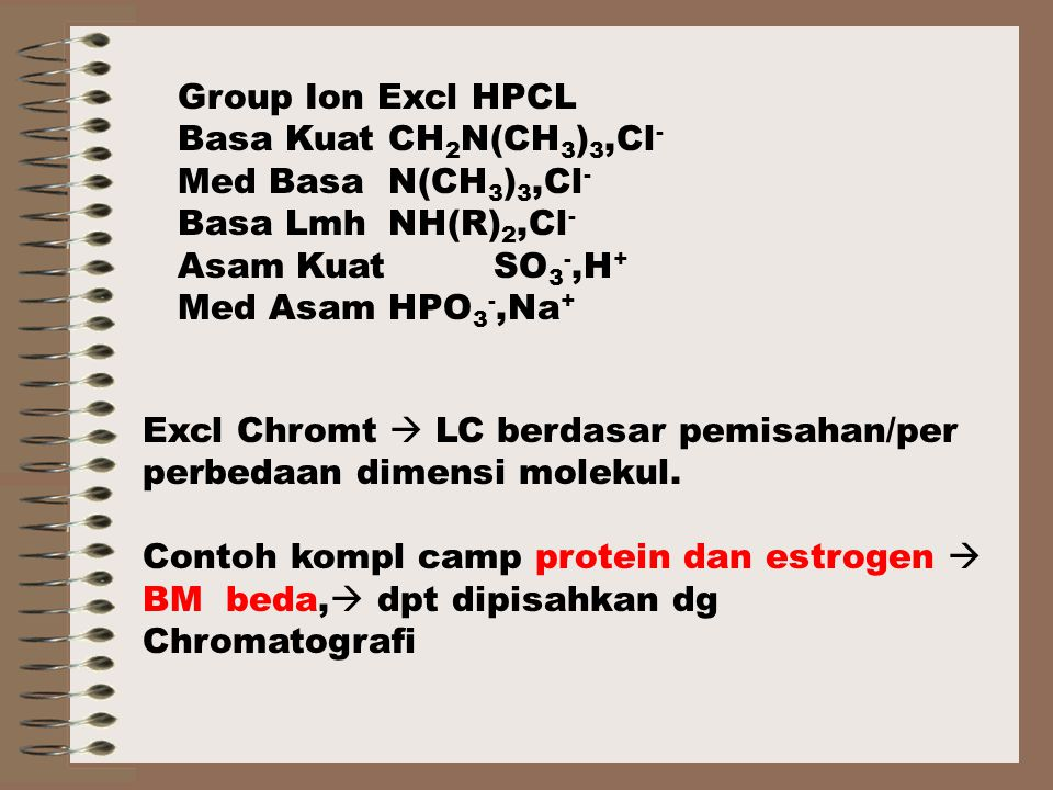 Group Ion Excl HPCL Basa Kuat CH2N(CH3)3,Cl- Med Basa N(CH3)3,Cl- Basa Lmh NH(R)2,Cl- Asam Kuat SO3-,H+