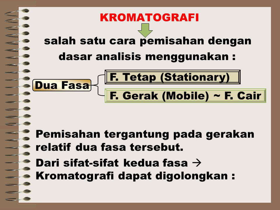KROMATOGRAFI salah satu cara pemisahan dengan. dasar analisis menggunakan : Dua Fasa. F. Tetap (Stationary)