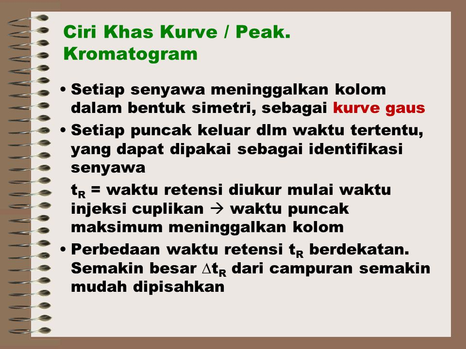 Ciri Khas Kurve / Peak. Kromatogram