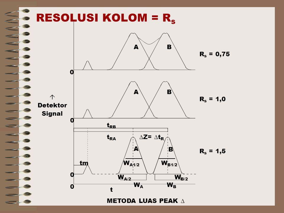 RESOLUSI KOLOM = Rs Rs = 0,75 Rs = 1,0 Rs = 1,5 A B tm WA1/2 WA WB/2