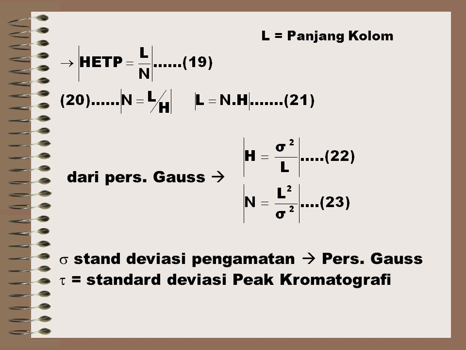  stand deviasi pengamatan  Pers. Gauss