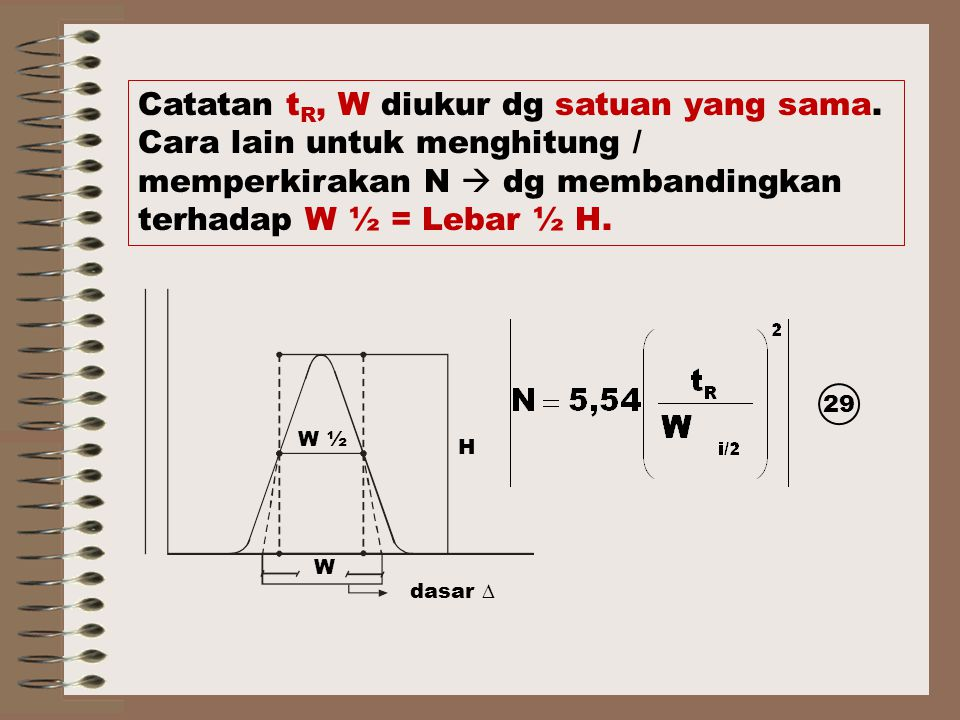 Catatan tR, W diukur dg satuan yang sama.