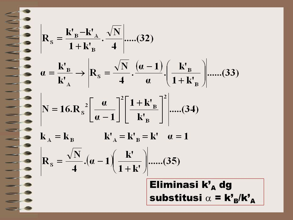 Eliminasi k'A dg substitusi  = k'B/k'A