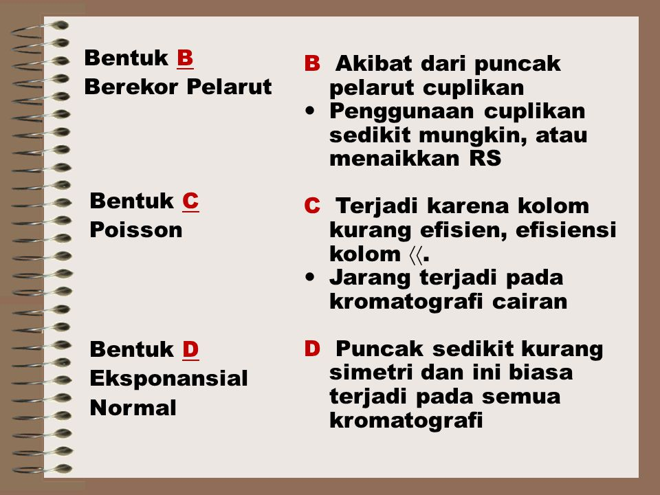 Bentuk B Berekor Pelarut. B Akibat dari puncak pelarut cuplikan. Penggunaan cuplikan sedikit mungkin, atau menaikkan RS.