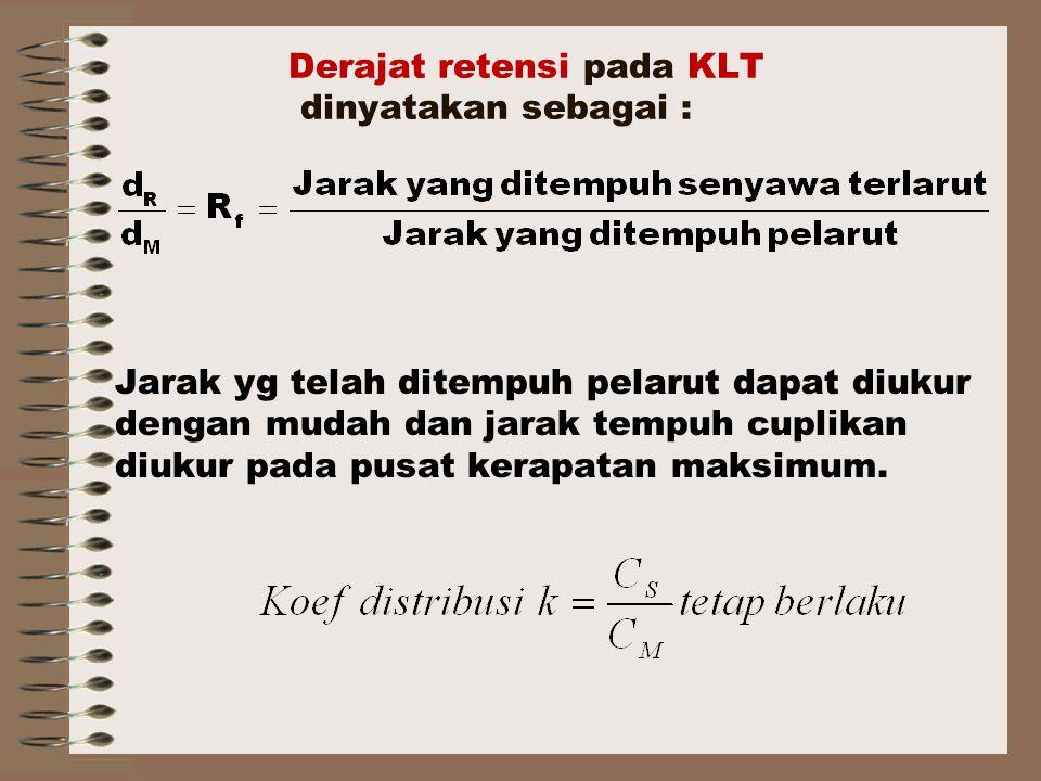 Derajat retensi pada KLT dinyatakan sebagai :