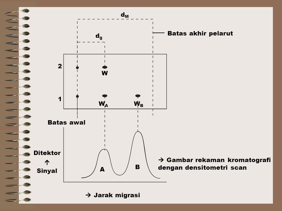 Batas akhir pelarut  Gambar rekaman kromatografi dengan densitometri scan.  Jarak migrasi. Batas awal.