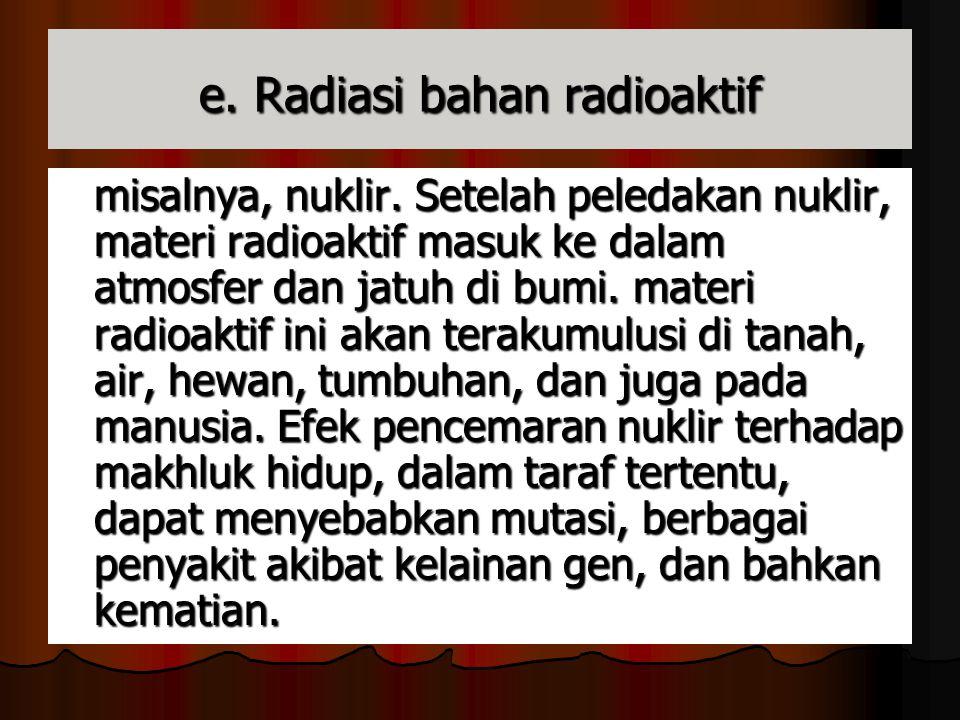 e. Radiasi bahan radioaktif
