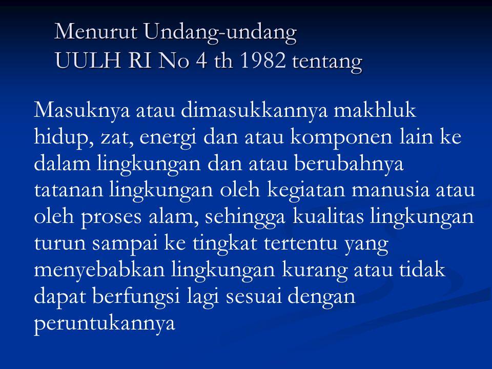 Menurut Undang-undang UULH RI No 4 th 1982 tentang