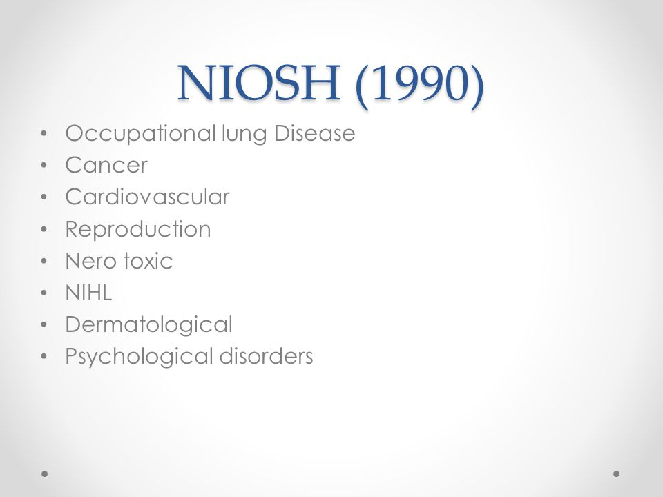 NIOSH (1990) Occupational lung Disease Cancer Cardiovascular