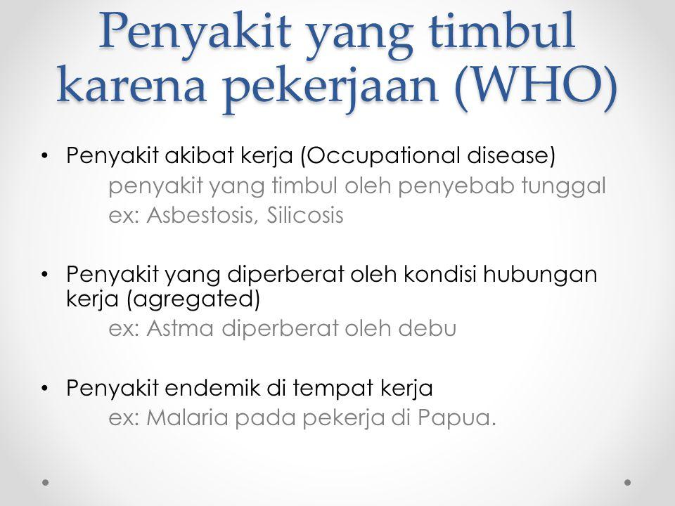 Penyakit yang timbul karena pekerjaan (WHO)