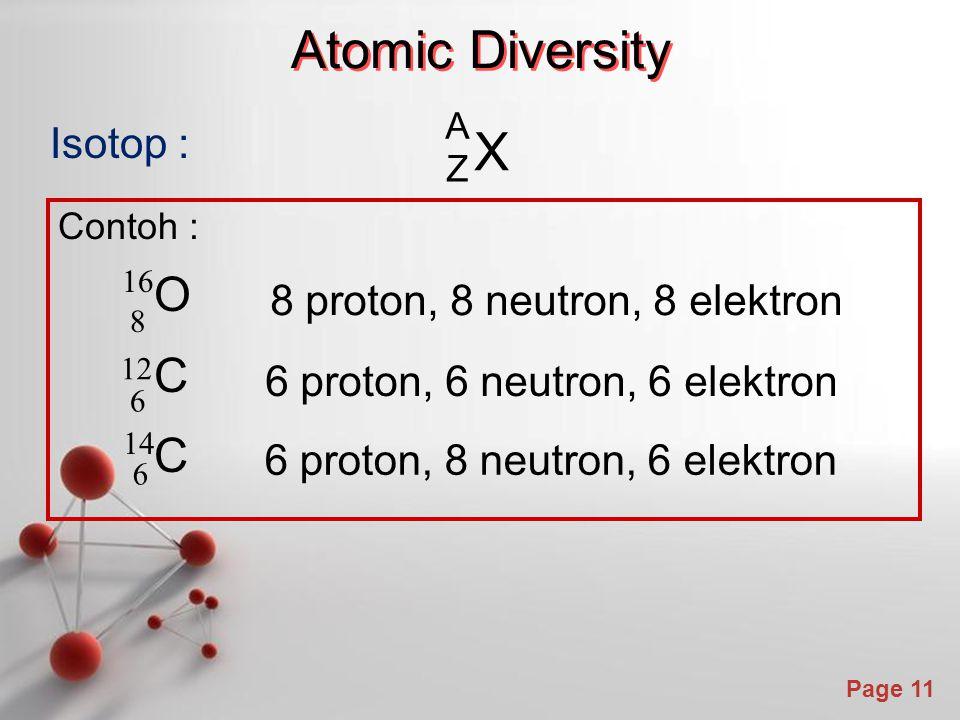 Atomic Diversity X C Isotop : O 8 proton, 8 neutron, 8 elektron