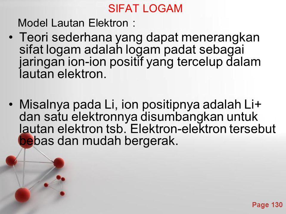 SIFAT LOGAM Model Lautan Elektron :