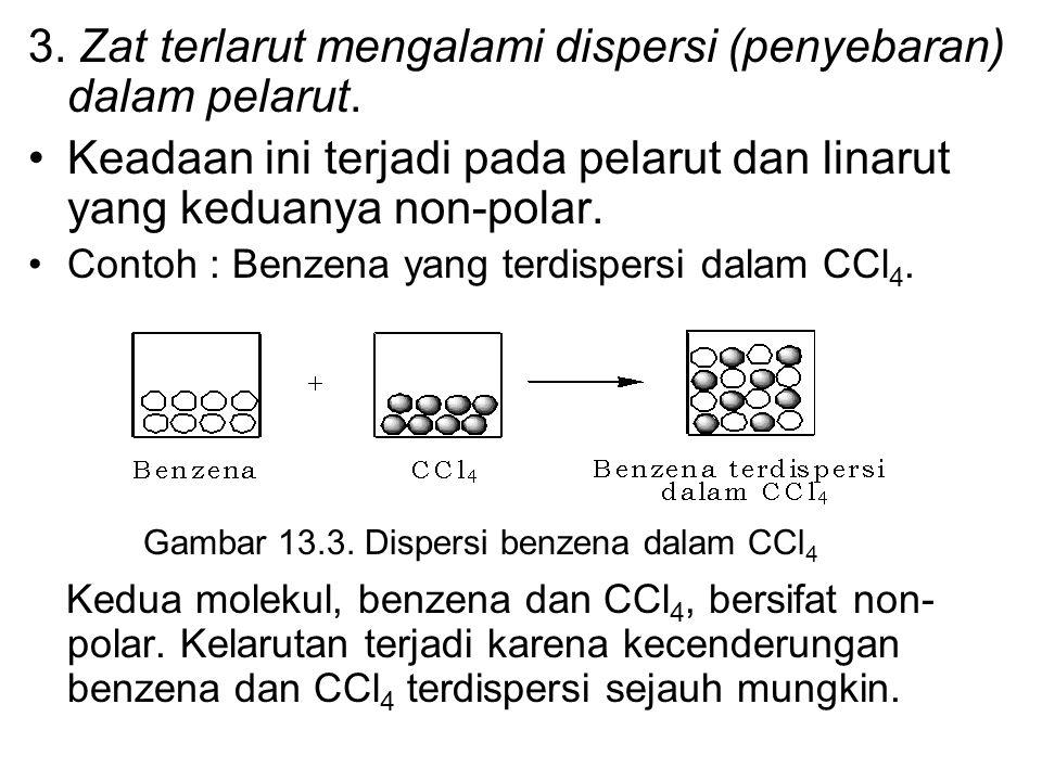 3. Zat terlarut mengalami dispersi (penyebaran) dalam pelarut.