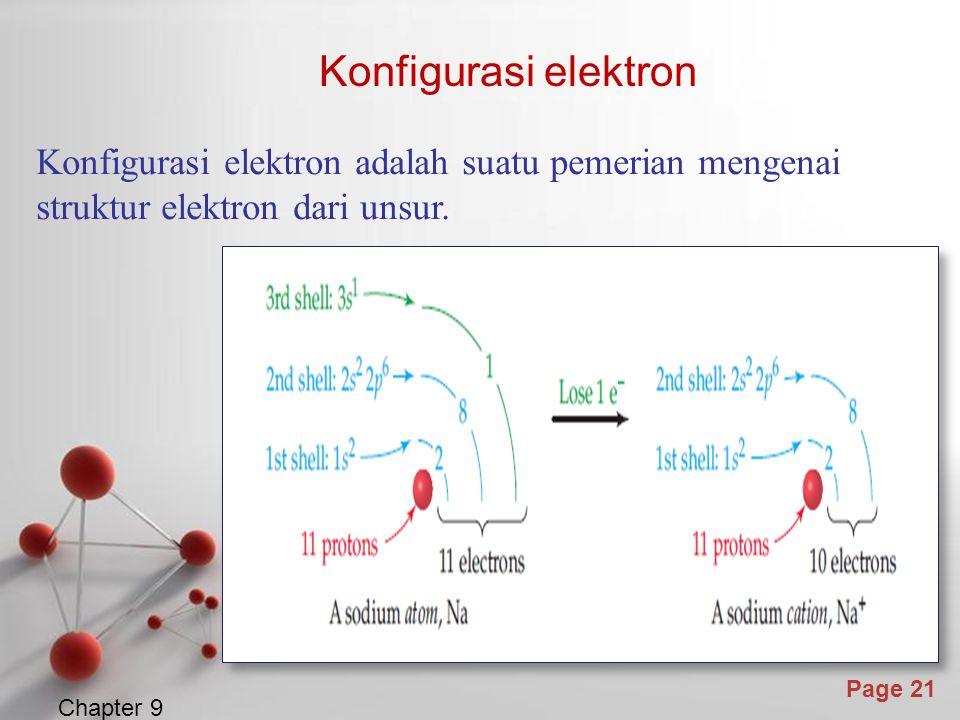Konfigurasi elektron Konfigurasi elektron adalah suatu pemerian mengenai struktur elektron dari unsur.
