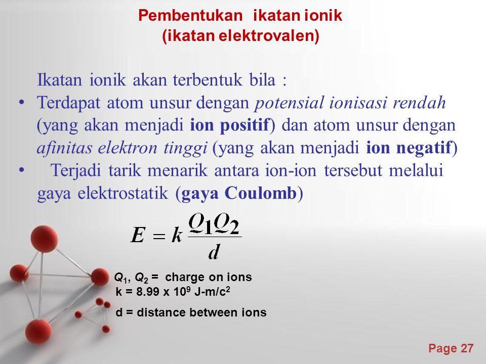 Pembentukan ikatan ionik (ikatan elektrovalen)