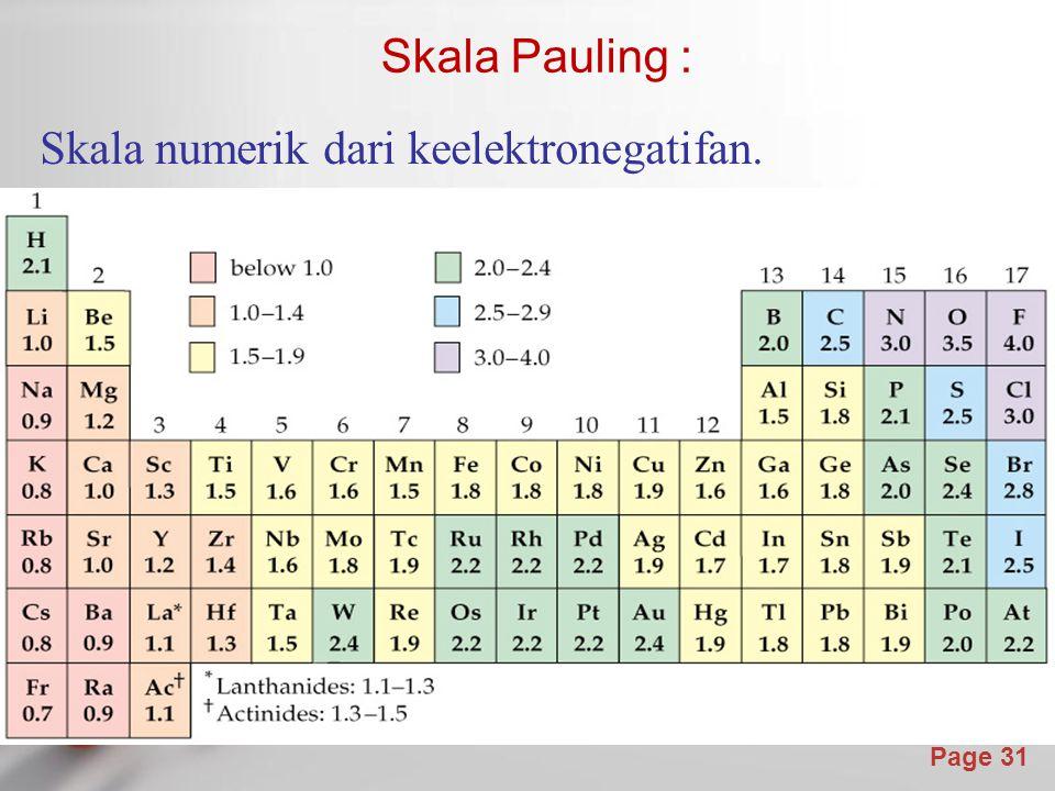 Skala Pauling : Skala numerik dari keelektronegatifan.